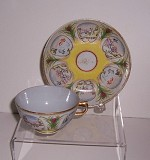 RARE YELLOW ACCENTED TEA CUP and SAUCER