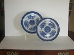 Two Blue Fitzhugh Dinner Plates